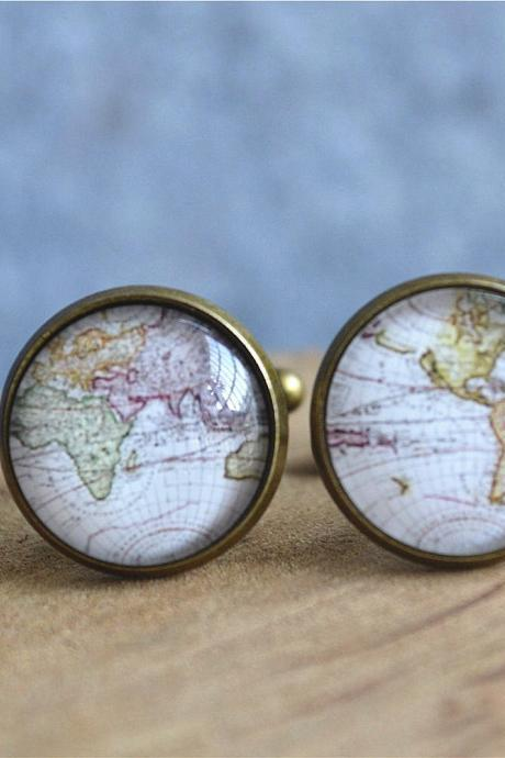 World Map Cufflinks,Retro map cuff links,Map Tie Bar, Cabochon Personalized Cufflinks, Wedding Cufflinks, Video Game Console,Groom Cufflinks