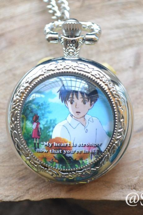 Anime Pocket Watch,Karigurashi no arietti watch necklace, Cartoon Photo quartz watch jewelry, unique gift for lover,best friends