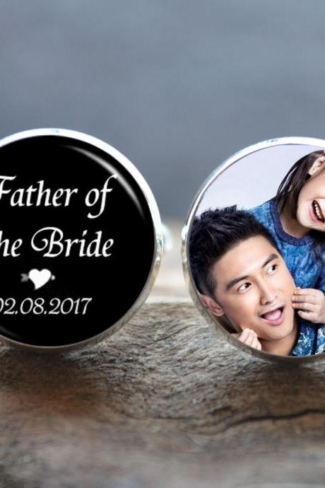 Father of the Bride Cufflinks -Custom Photo Cufflinks - Personalized Photo Men cufflinks - wedding cuff links -fathers day gift