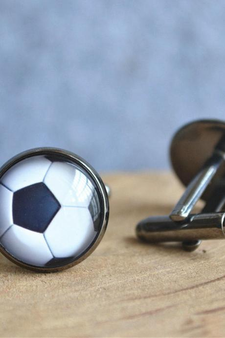 Football Cufflinks,Sport Football Tie Clip,Soccer Tie Bar,Soccer Cuff links, Football player gift,Groomsmen Cuff links,Mens Wedding gift