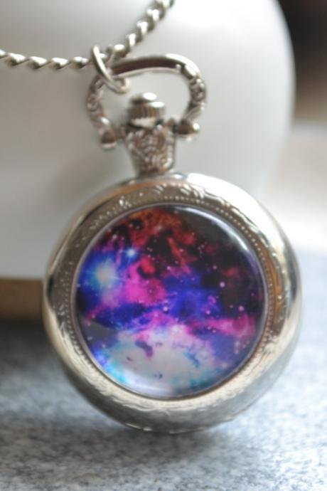 Galaxy Pocket Watch, Purple galaxy watch necklace, Photo quartz watch jewelry, milky way, space nebula jewelry