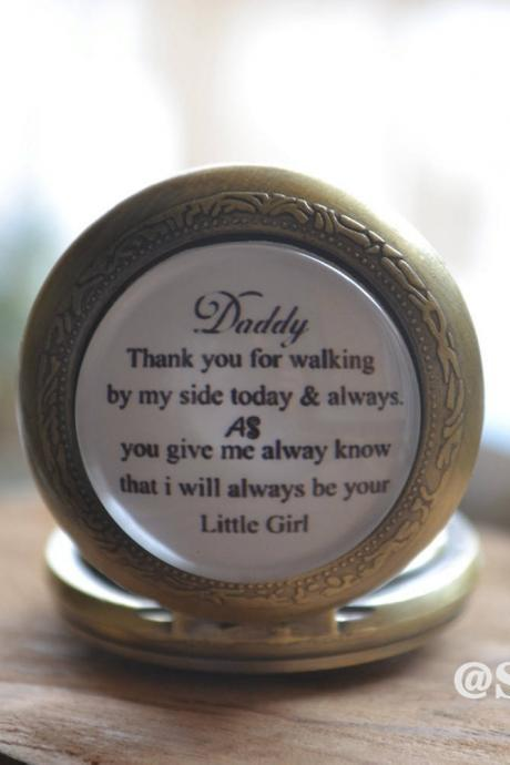 Father of the bride Pocket Watch,Personalized wedding watch necklace, Gift for faher,Customized Photo quartz watch,little girl jewelry