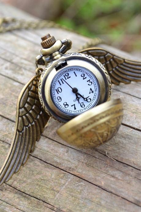 Flying ball pocket watch, Sided wings ball watch necklace, spider web snitch watch, snitch pendant unisex gift