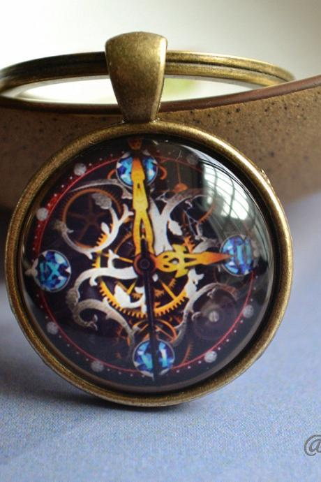 Steampunk Keychain - Time Clock Pattern Necklace -Cabochon Picture Key Ring - Statement Necklace / Pocket watch/Keychain gift