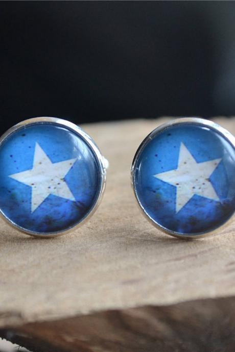 Star Cufflinks, Mens Star Cufflinks,Star Tie Clip, Steampunk Cuff links, Groomsmen Cuff links,Mens Wedding gift,graduation gift