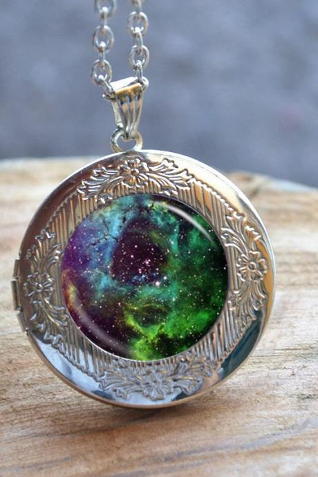 Green Galaxy Necklace, Galaxy Locket Necklace, Milky Way Galaxy Jewelry, Handmade Photo Locket Jewelry, Glass Dome Cabochon Gift