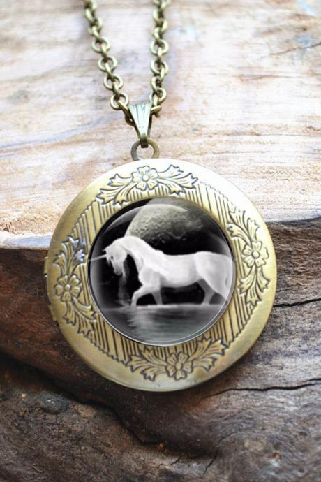 Unicorn Necklace, Unicorn Locket Necklace, Handmade Photo Locket Pendant, Full Moon Picture Jewelry