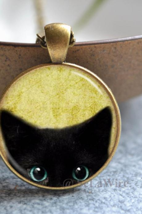 Black Cat Necklace - Pet Cat Picture Necklace - Pet Jewelry - Statement Necklace - Picture Necklace/ Pocket watch/Keychain gift