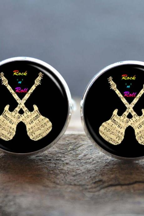 The Guitar Cufflinks- Rock and roll cuff links-personalized cufflinks-musical tie clip - custom wedding cufflinks- groomsman cufflinks