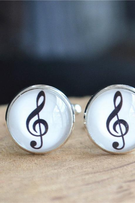 Music Cufflinks,Musical Notes Cuff Links,Musical note Tie Clip, Personal Wedding Cufflinks,Gift for Father,Musical jewelry,graduation gift