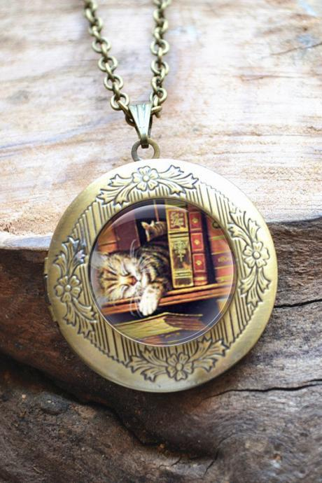 Books Necklace, Book Jewelry, Cat in Books Librarian Pendant, Books Locket Necklace,Bibliophile,Book Lover Necklace,Literary Jewelry