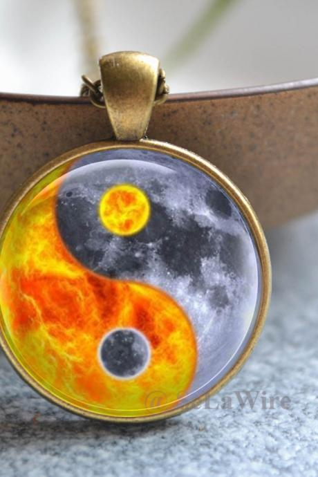 Tai Chi Necklace - Sun and Earth Picture Necklace - Planet Jewelry - glass dome pendant - Picture jewelry - Statement Necklace Jewelry