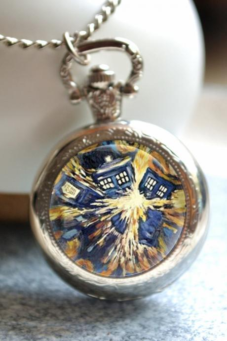 Tardis Pocket Watch, Doctor who watch necklace, Van gogh starry sky photo quartz watch jewelry, police box jewelry