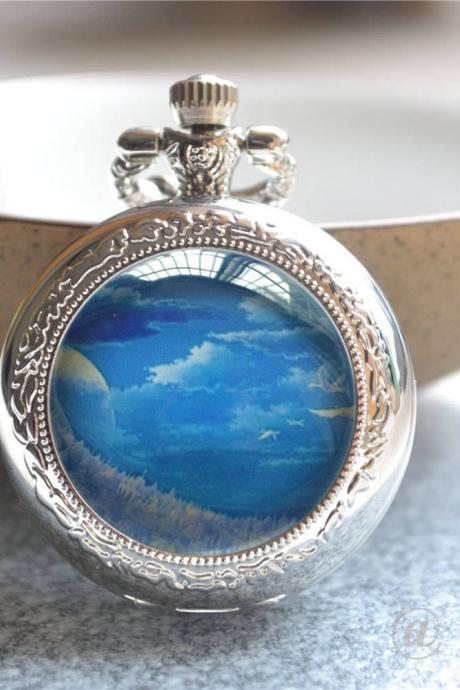 Blue Sky Pocket Watch,Cloudy Sky Watch Necklace,Sky Photo Quartz Watch Jewelry, Cabochon Photo Keychain/Pendant Necklace/Pocket Watch Gift