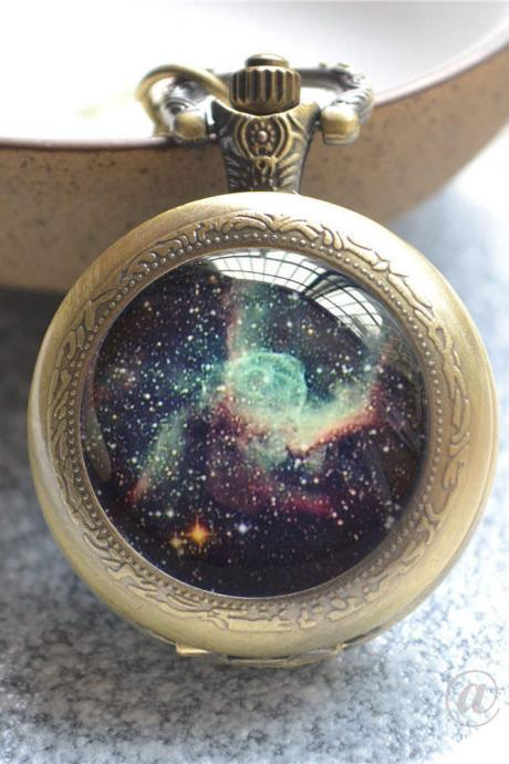 Galaxy Pocket Watch,Rose Galaxy Watch Necklace, Photo Quartz Watch Jewelry,Milky Way, Space Nebula Jewelry,Galaxy Keychain/Necklace/Watch