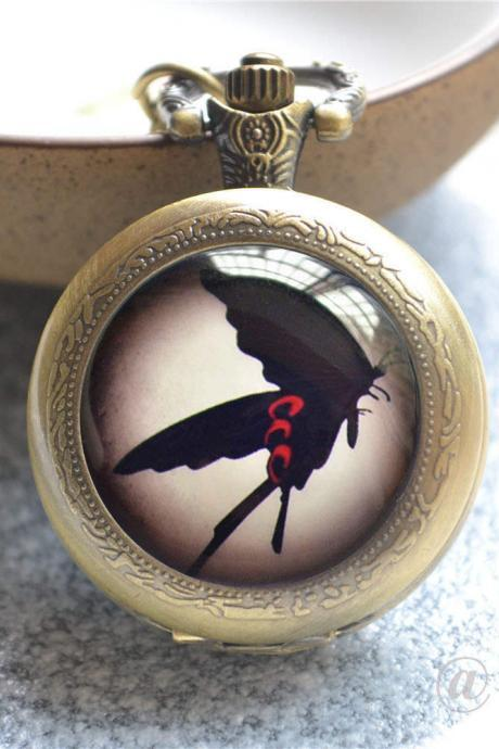 Butterfly Pocket Watch,Butterfly Watch Necklace,Black Butterfly Photo Quartz Watch Jewelry, Anime Jewelry,Cabochon Keychain/Necklace/Watch