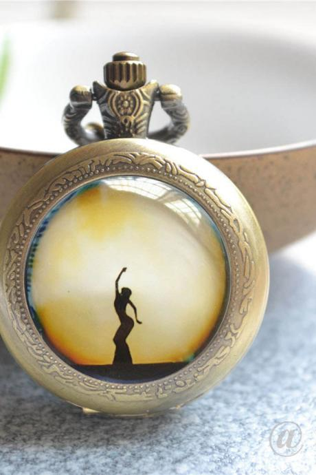 Dancer Pocket Watch, Pavan Necklace, Full Moon Photo Quartz Watch Necklace Jewelry, Dance Watch Necklace,Pendant Necklace/Keychain/Watch