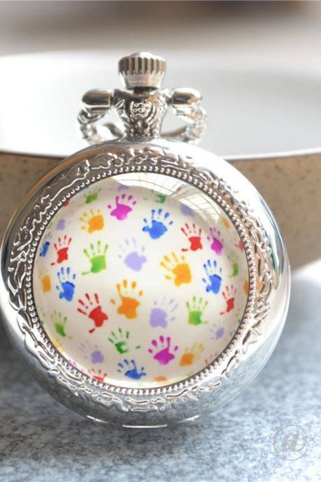 Hand Print Pocket Watch, Colorful Handprint Watch Necklace, Photo Quartz Watch Jewelry,Locket Watch,Cabochon Keychain/Pendant Necklace/Watch
