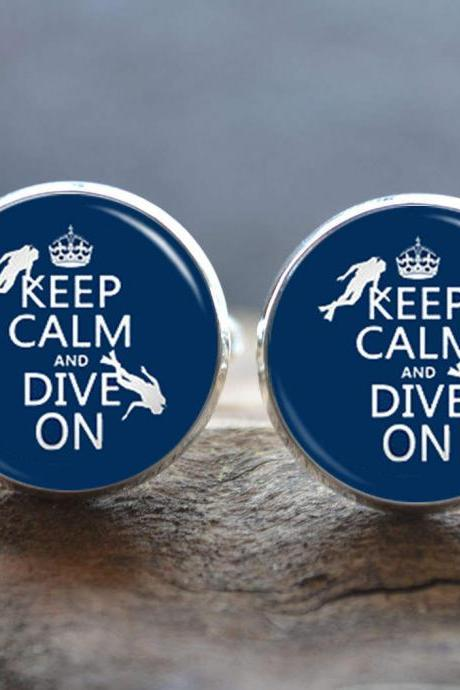 Diving Cufflinks- Quote Keep Clam and Dive on cufflinks, personalized cufflinks tie clip-custom wedding groomsman cufflinks- sport lover