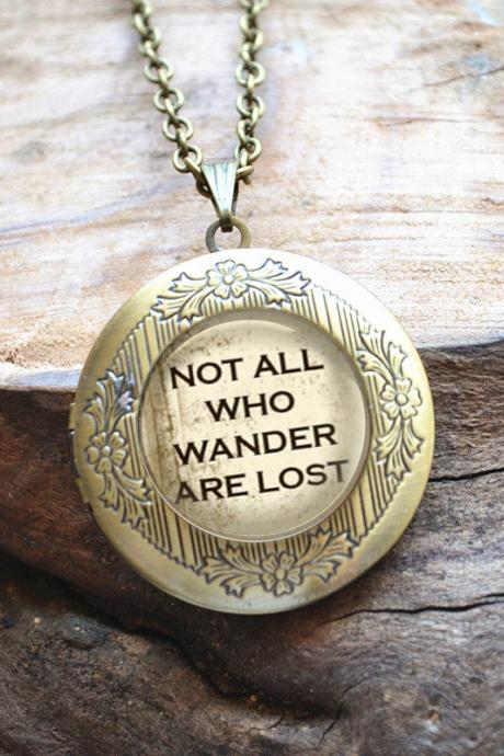Quote Necklace, Quote ' Not all who wander are lost' Locket Necklace,Picture pendant necklace, Photo frame necklace