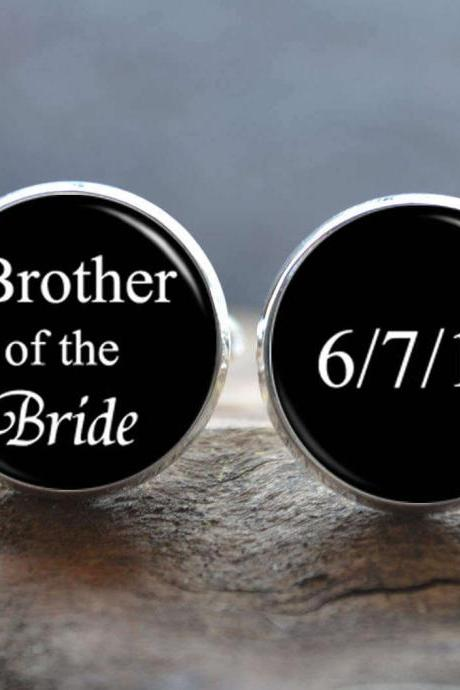 Wedding Cuff Links - Brother of the Bride Cufflinks -Personalized Wedding Date Cufflinks - Gift for father - Customized Wedding Jewelry