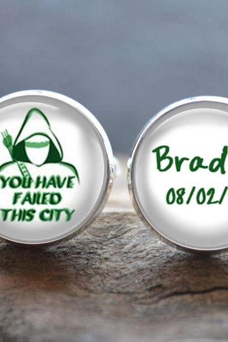 Green Arrow Cufflinks -You Have Failed This City Cufflinks- Wedding cufflinks - Peronalized Wedding Jewelry - Your Text cufflinks Cabochon