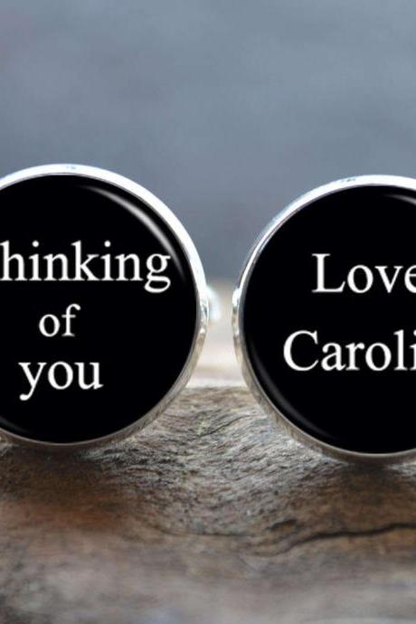 Love Message Cuff Links -Thinking of you Cufflinks - Gift for Him - Peronalized Wedding Jewelry - Gift for Boyfriend/Husband