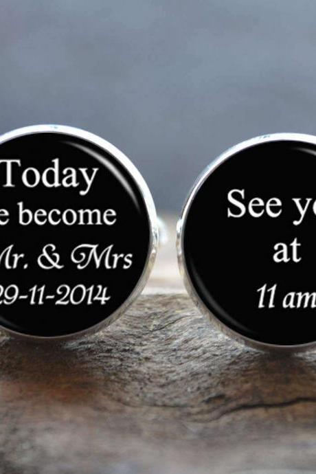 Wedding Cuff Links - Today We Become Mr & Mrs Cufflinks -Wedding Invitation Cufflinks- Peronalized Wedding Jewelry- Photo Cabochon Jewelry