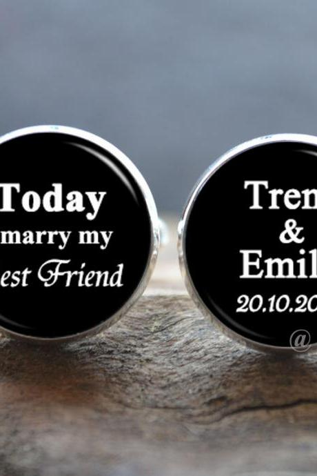 Customized Wedding Cuff Links - Today I Marry My Best Friend Cufflinks - Peronalized Wedding Jewelry - Your Text Cuff Links-Photo Cabochon Jewelry