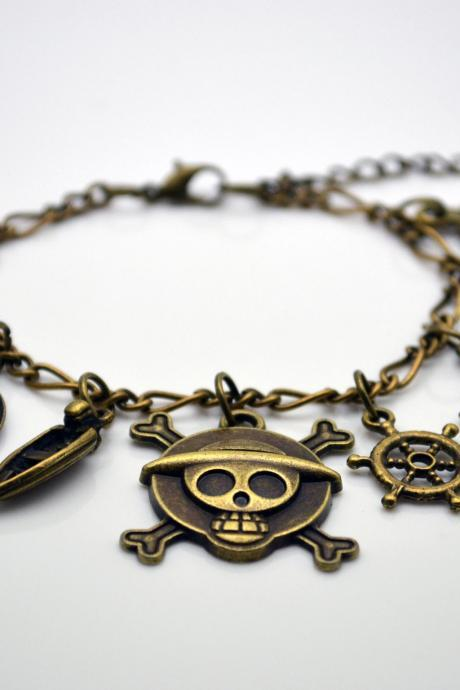 Anime One Piece charms bracelet, Steampunk Antique brass telescope anchor hat,boat rudder pirate fish bone and compass charm bracelet