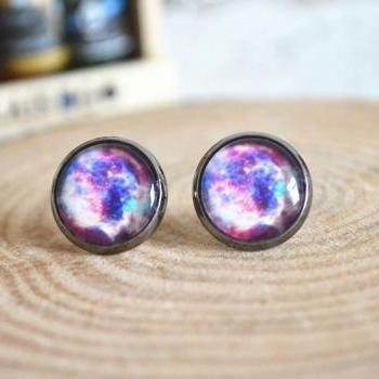 Galaxy Stud Earrings, Colorful Galaxy Earrings Jewelry , Nebula Space ear stud earrings E21