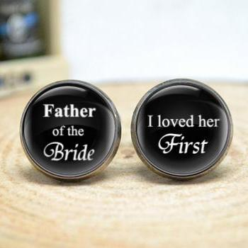 Wedding cufflinks,Father of the bride , I loved her first mens wedding day accessories,men accessories CL71