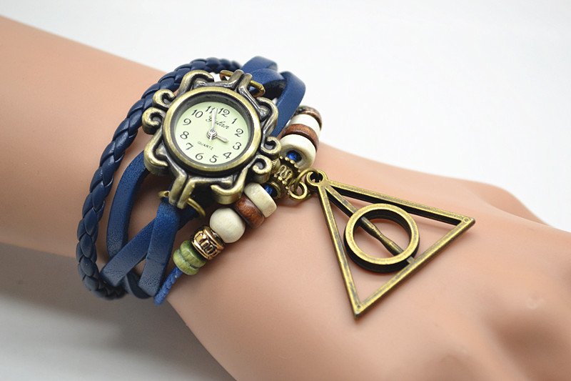 deathly hallows watch charm beaded wrist watch with harry potter deathly hallows leather wrist. Black Bedroom Furniture Sets. Home Design Ideas